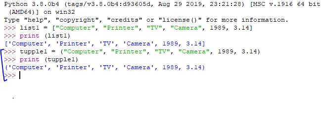 Python tuple example