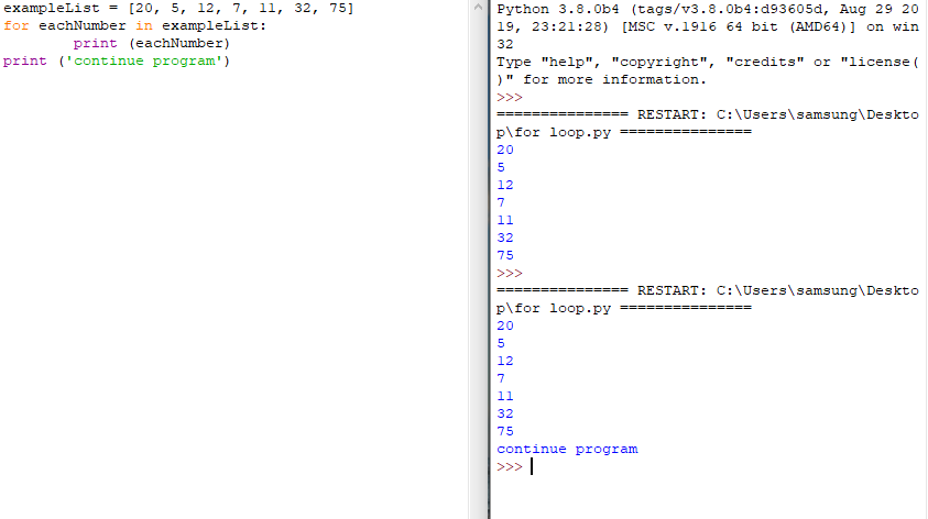 for loop with print function not indented