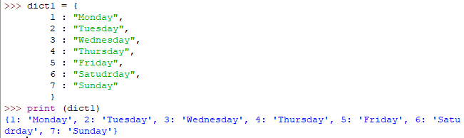 Python dictionary example