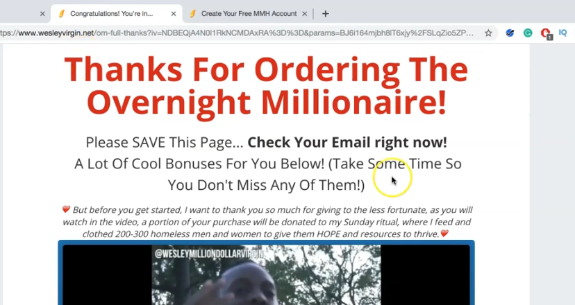 Overnight Millionaire System Review - Thank You Page